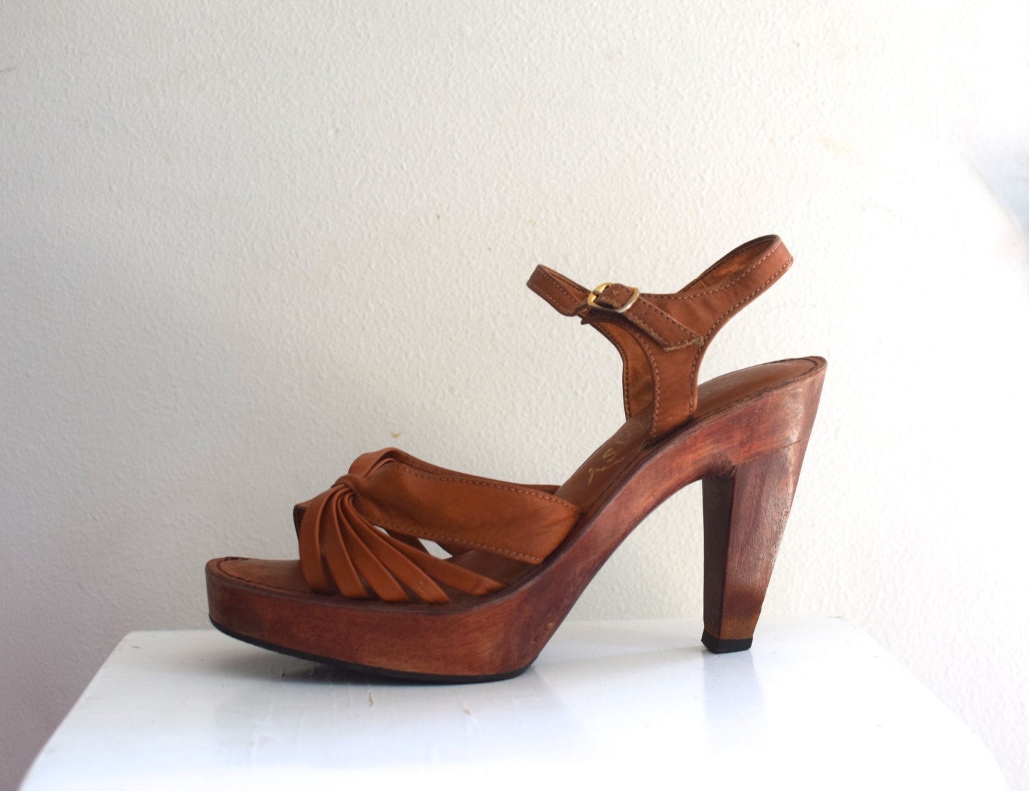 70s platform sandals disco wooden shoes whiskey leather