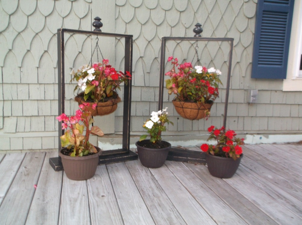 Rustic Hanging Basket Stand Plant Stand Plant by SameAsNever on Stand For Hanging Plants  id=29426