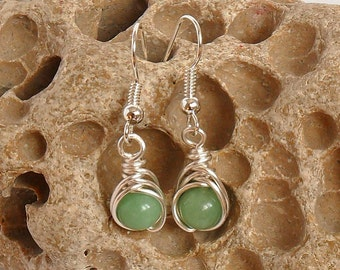 Wire Wrapped Earrings - Jade and Silver Plated Wire - Handmade - Herringbone Wrap - Green Jade Stones