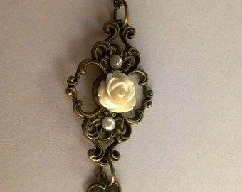 White Rose Necklace with Dangling Charm