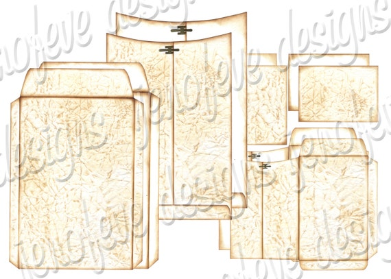 6x9 Printable Envelope Album Old Paper & Plain Templates