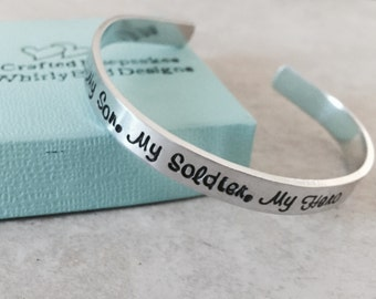 Sale!  My son my soldier my hero personalized cuff bracelet army mom navy mom marine corps mom sister girlfriend deployment military