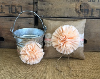 Flower Girl Basket Ring Bearer Pillow Set Shabby Chic Wedding Rustic Wedding Burlap and Lace Light Coral Peach Wedding