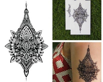 Detailed Henna Style Intricate Symmetrical Temporary Tattoo (Set of 2)