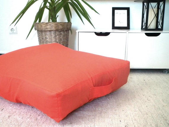 Large Orange Floor Cushion-Fabric Pouf-Floor Pillow-Kids