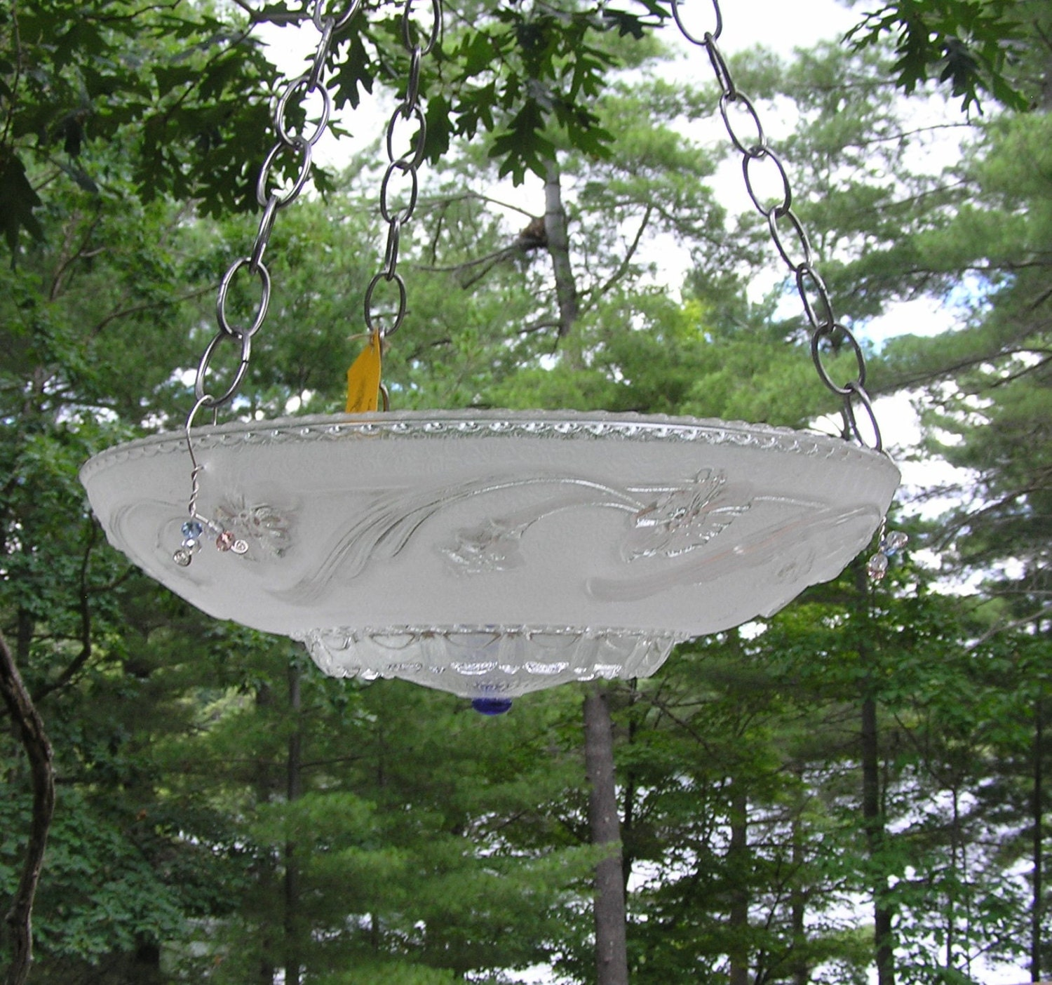 Hanging Bird Feeder Bird Bath Re Purposed Up Cycled