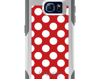 OtterBox Commuter for Galaxy S4 / S5 / S6 / S7 / S8 / S8+ / Note 4 / 5 - CUSTOM Monogram - Any Colors - White & Red Polka Dots