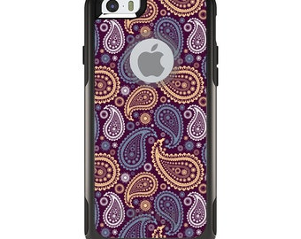 OtterBox Commuter for Apple iPhone 5S SE 5C 6 6S 7 8 PLUS X 10 - Custom Monogram - Any Colors - Purple Yellow Blue Paisley