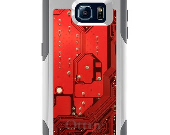 OtterBox Commuter for Galaxy S4 / S5 / S6 / S7 / S8 / S8+ / Note 4 / 5 - CUSTOM Monogram - Any Colors - Red Circuit Board