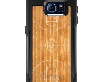OtterBox Commuter for Galaxy S4 / S5 / S6 / S7 / S8 / S8+ / Note 4 5 8 - CUSTOM Monogram - Any Colors - Basketball Court Layout
