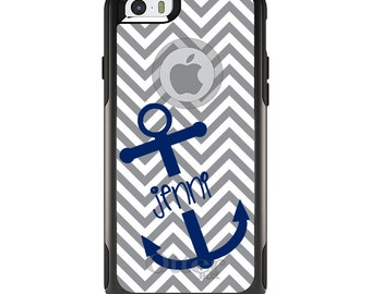 OtterBox Commuter for Apple iPhone 5S SE 5C 6 6S 7 8 PLUS X 10 - Custom Monogram or Image - Grey White Blue Anchor Name