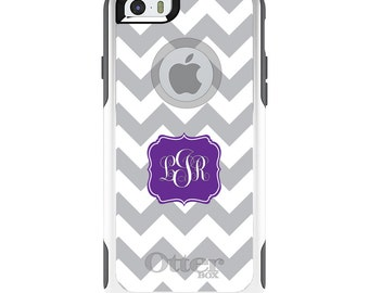 OtterBox Commuter for Apple iPhone 5S SE 5C 6 6S 7 8 PLUS X 10 - Custom Monogram or Image - Grey White Chevron Purple Frame