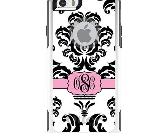 OtterBox Commuter for Apple iPhone 5S SE 5C 6 6S 7 8 PLUS X 10 - Custom Monogram or Image - Black White Pink Damask Ribbon