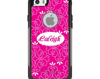 OtterBox Commuter for Apple iPhone 5S SE 5C 6 6S 7 8 PLUS X 10 - Custom Monogram or Image - Neon Pink White Floral Name