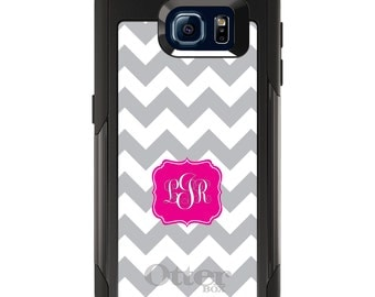 OtterBox Commuter for Galaxy S4 / S5 / S6 / S7 / S8 / S8+ / Note 4 5 8 - CUSTOM Monogram Name Initials - Grey White Chevron Hot Pink Frame