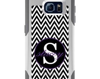 OtterBox Commuter for Galaxy S4 / S5 / S6 / S7 / S8 / S8+ / Note 4 5 8 - CUSTOM Monogram Name Initials - Black White Chevron Purple