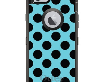 CUSTOM OtterBox Defender Case for Apple iPhone 6 6S 7 8 PLUS X 10 - Personalized Monogram - Black & Blue Polka Dots