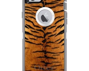 CUSTOM OtterBox Defender Case for Apple iPhone 6 6S 7 8 PLUS X 10 - Personalized Monogram - Yellow Black Tiger Fur Skin