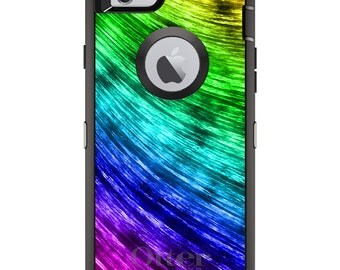 CUSTOM OtterBox Defender Case for Apple iPhone 6 6S 7 8 PLUS X 10 - Personalized Monogram - Rainbow Shimmering Curve
