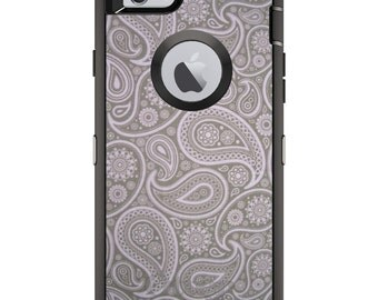 CUSTOM OtterBox Defender Case for Apple iPhone 6 6S 7 8 PLUS X 10 - Personalized Monogram - Grey Black Paisley