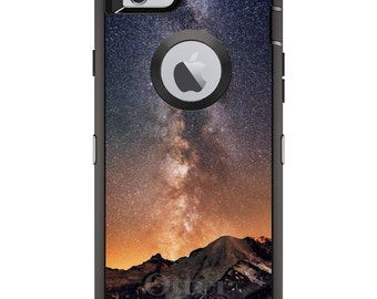 CUSTOM OtterBox Defender Case for Apple iPhone 6 6S 7 8 PLUS X 10 - Personalized Monogram - Milky Way Over Mountains