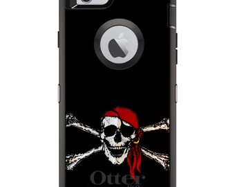 CUSTOM OtterBox Defender Case for Apple iPhone 6 6S 7 8 PLUS X 10 - Personalized Monogram - Black Red Pirate Flag