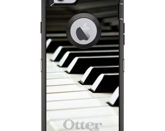 CUSTOM OtterBox Defender Case for Apple iPhone 6 6S 7 8 PLUS X 10 - Personalized Monogram - Piano Keys Keyboard