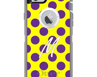 CUSTOM OtterBox Defender Case for Apple iPhone 6 6S 7 8 PLUS X 10 - Personalized Monogram - Purple Yellow Polka Dot Name