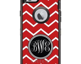 CUSTOM OtterBox Defender Case for Apple iPhone 6 6S 7 8 PLUS X 10 - Personalized Monogram - Red White Chevron Initials