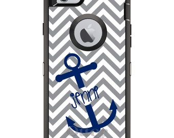 CUSTOM OtterBox Defender Case for Apple iPhone 6 6S 7 8 PLUS X 10 - Personalized Monogram - Grey White Blue Anchor Name
