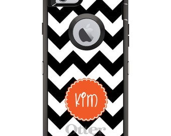 CUSTOM OtterBox Defender Case for Apple iPhone 6 6S 7 8 PLUS X 10 - Personalized Monogram - Black White Chevron Orange Circle