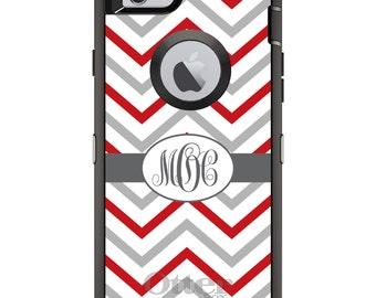 CUSTOM OtterBox Defender Case for Apple iPhone 6 6S 7 8 PLUS X 10 - Personalized Monogram - Red White Grey Chevron Stripes