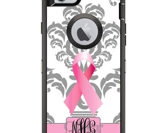 CUSTOM OtterBox Defender Case for Apple iPhone 6 6S 7 8 PLUS X 10 - Personalized Monogram - Grey White Damask Pink Cancer Ribbon