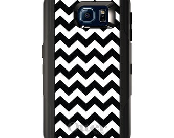 Custom OtterBox Defender for Galaxy S5 S6 S7 S8 S8+ Note 5 8 Any Color / Font - Black White Chevron Stripes