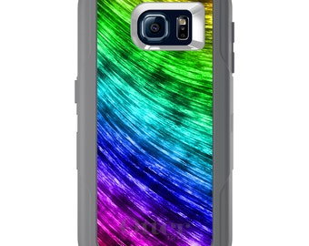 Custom OtterBox Defender for Galaxy S5 S6 S7 S8 S8+ Note 5 8 Any Color / Font - Rainbow Shimmering Curve