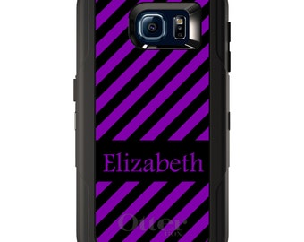 Custom OtterBox Defender for Galaxy S5 S6 S7 S8 S8+ Note 5 8 Any Color / Font - Black Purple Stripes Name