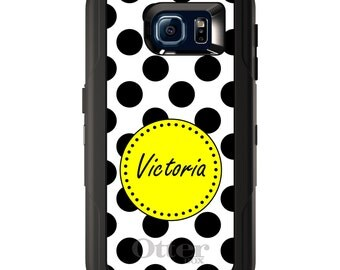 Custom OtterBox Defender for Galaxy S5 S6 S7 S8 S8+ Note 5 8 Any Color / Font - Black White Yellow Polka Dots