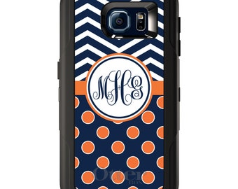 Custom OtterBox Defender for Galaxy S5 S6 S7 S8 S8+ Note 5 8 Any Color / Font - Blue White Chevron Polka Dot