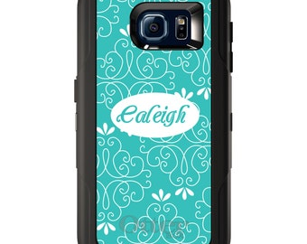 Custom OtterBox Defender for Galaxy S5 S6 S7 S8 S8+ Note 5 8 Any Color / Font - Teal White Floral Name