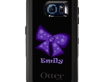 Custom OtterBox Defender for Galaxy S5 S6 S7 S8 S8+ Note 5 8 Any Color / Font - Purple Black Bow Ribbon Name