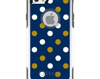 OtterBox Commuter for Apple iPhone 5S SE 5C 6 6S 7 8 PLUS X 10 - Custom Monogram - Notre Dame ND Fighting Irish Colors - Polka Dots
