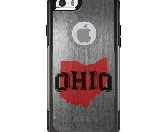 OtterBox Commuter for Apple iPhone 5S SE 5C 6 6S 7 8 PLUS X 10 - Custom Monogram - Ohio State University Buckeyes Colors - Ohio Outline