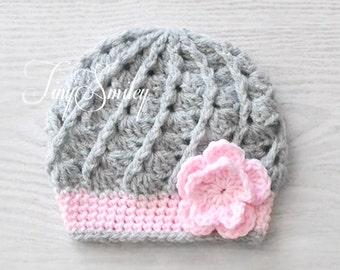 Gray Baby Girl Flower Hat, Gray Crochet Baby Hat, Gray Baby Hat, Photo Prop, Newborn Gray Beanie, Baby Girl Outfit, Newborn Gray Hat