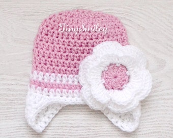 Crochet Baby Girl Hat, Pink Flower Baby Girl Hat, Newborn Girl Hat, Earflap Baby Girl Hat, Baby Girl Earflap Hat, Newborn Hat in Pink