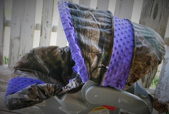 Realtree Camo W Dark Purple Car Seat Cover And Hood Cover W