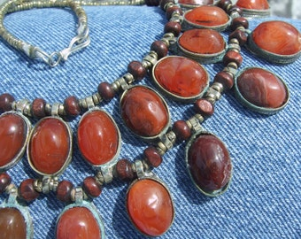 vintage natural very old hand crafted hand beaded outstanding carnelina necklace a kind of necklace hard to find like this