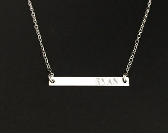 Personalized Skinny Bar Necklace. Delicate Sterling Silver Bar. Coordinates. GPS. Dainty Layer Necklace. Engraved Name Necklace. Minimal Bar