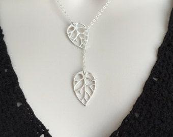 Sterling Silver Leaf Necklace. Dainty Leaf Lariat Necklace. Dangle Leaf Jewelry. Leaf Necklace. Gift for Her. Wedding. Birthday.