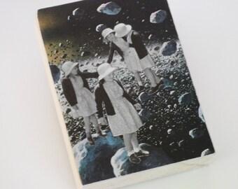 Retro Space Art, Original Collage, Little Girls Art, School Girls Collage, Rock Climbing Art, Outer Space Collage, Galaxy Art, Surreal Art