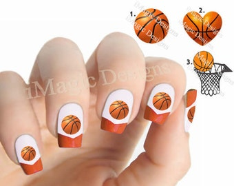 Nail Decals, Water Slide Nail Stickers, Basketball